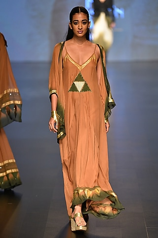 Caramel and olive pyramind evening ceremony Dress and Cape by Malini Ramani