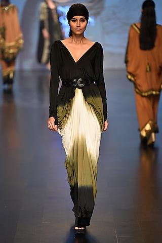 Black, off white and olive shamanic saree dress by Malini Ramani