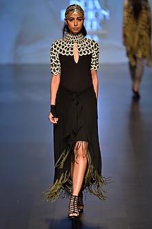 Black I Love Krishna Play Top and Dream Catcher Wrap Skirt by Malini Ramani