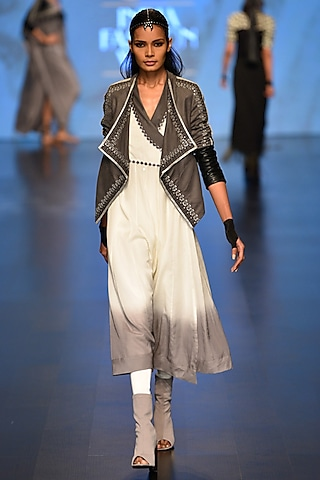 Grey Kama jacket and Shanti Wrap Dress by Malini Ramani