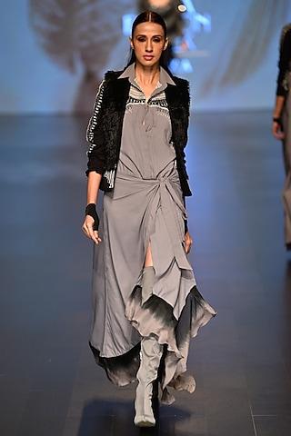Grey High Vibe Wrap dress and Chakra Waist coat by Malini Ramani