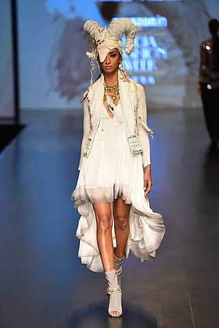 White Kundalini Mirror Waistcoat and Anahata Flow dress by Malini Ramani