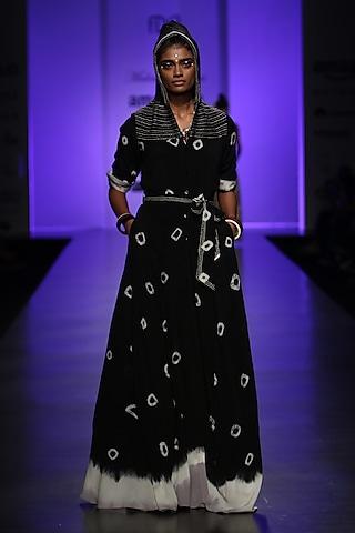 Black Cosmic Shirt Dress by Malini Ramani