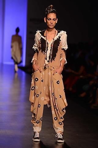 Beige Bandhni Dhoti Pants by Malini Ramani