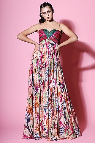 Multi Colored Embellished Printed Dress by Mahima Mahajan