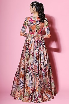 Multi Colored Embellished & Printed Anarkali With Dupatta by Mahima Mahajan