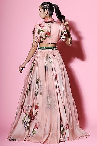 Blush Pink Embellished Blouse With Lehenga by Mahima Mahajan
