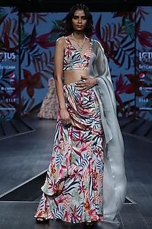Multi Colored Printed Draped Saree Set by Mahima Mahajan