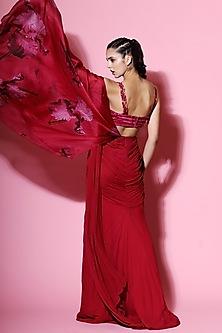 Hot Pink Embellished Saree With Blouse by Mahima Mahajan