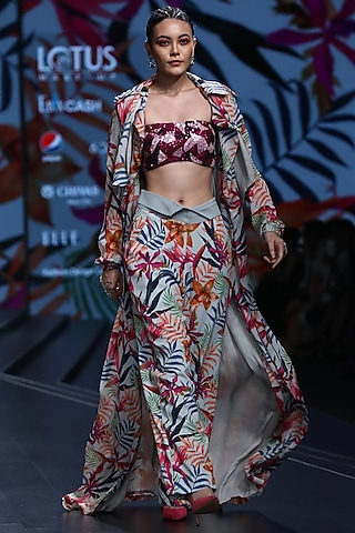 Multi Colored Printed Trench Coat With Top & Pants by Mahima Mahajan
