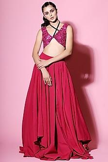 Hot Pink Embellished Blouse With Lehenga by Mahima Mahajan