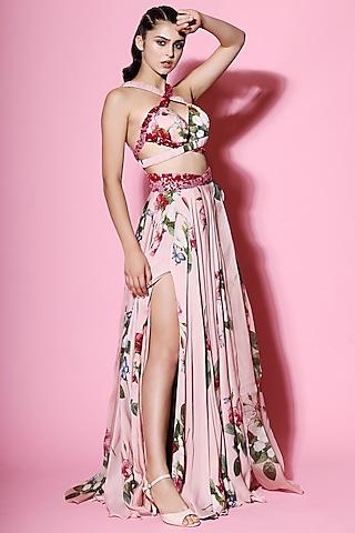 Blush Pink Embellished Blouse With Pleated Lehenga by Mahima Mahajan