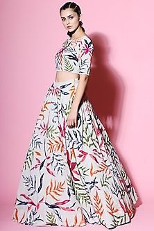 Jade Embellished Blouse With Skirt by Mahima Mahajan