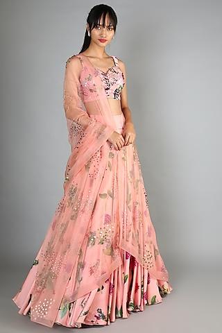 Blush Pink Printed & Embroidered Lehenga Set by Mahima Mahajan
