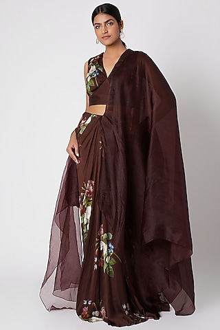 Brown Printed Pre-Stitched Saree Set by Mahima Mahajan