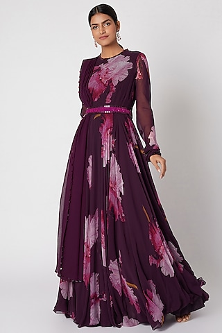 Purple Printed Anarkali With Embellished Dupatta & Belt by Mahima Mahajan