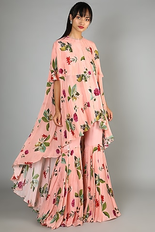 Blush Pink Printed Gharara Set by Mahima Mahajan