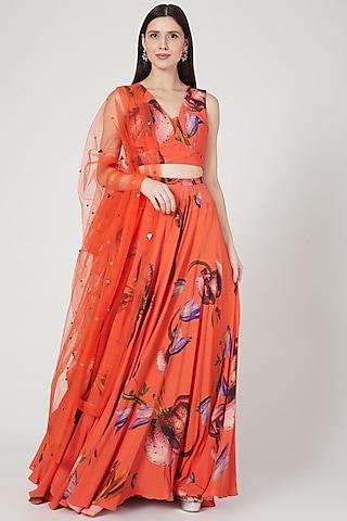 Orange Embellished Lehenga Set by Mahima Mahajan