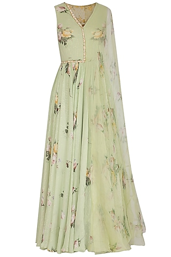 Sage Printed Anarkali Gown With Attached Dupatta by Mahima Mahajan