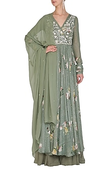 Olive Green Embellished Printed Angrakha Anarkali Set by Mahima Mahajan