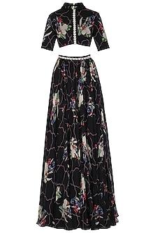 Black Printed & Embellished Lehenga Skirt With Crop Top by Mahima Mahajan