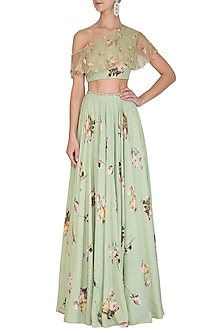 Sage Green Printed Lehenga Skirt With Embellished Blouse by Mahima Mahajan