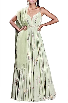 Sage Green Printed Anarkali With Embellished Dupatta by Mahima Mahajan