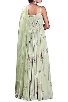 Sage Green Printed Anarkali With Embellished Dupatta by Mahima Mahajan