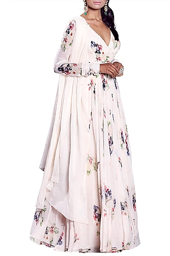 Ivory Angrakha Anarkali With Embellished Dupatta by Mahima Mahajan