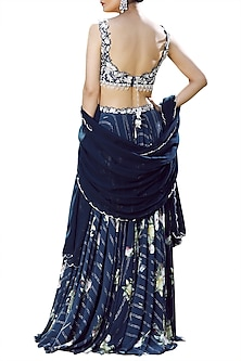 Midnight Blue Embellished Lehenga Set by Mahima Mahajan
