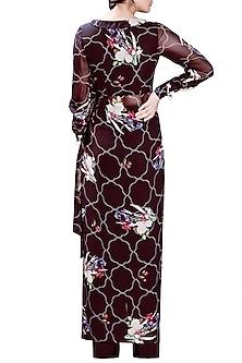 Black Printed Embellished Dress With Pants by Mahima Mahajan