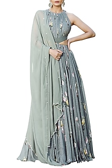 Olive Green Printed Anarkali With Embellished Dupatta by Mahima Mahajan