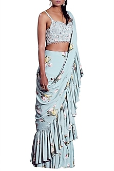 Aquamarine Embellished Saree Set by Mahima Mahajan