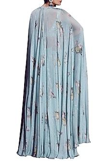 Aquamarine Embellished Printed Lehenga Set With Cape by Mahima Mahajan