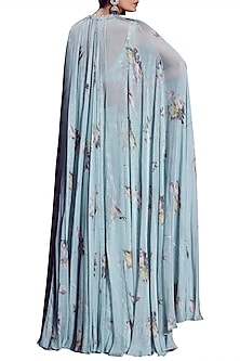 Aquamarine Embellished Printed Blouse With Palazzo Pants & Cape by Mahima Mahajan