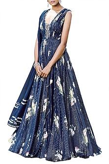 Midnight Blue Printed Jumpsuit With Dupatta by Mahima Mahajan