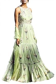 Sage Green Printed Tiered Anarkali With Embellished Dupatta by Mahima Mahajan