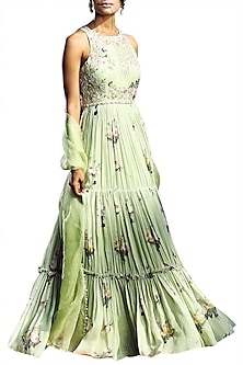 Sage Green Printed Tiered Anarkali With Embellished Dupatta by Mahima Mahajan