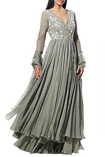Olive Green Embellished Anarkali Set by Mahima Mahajan