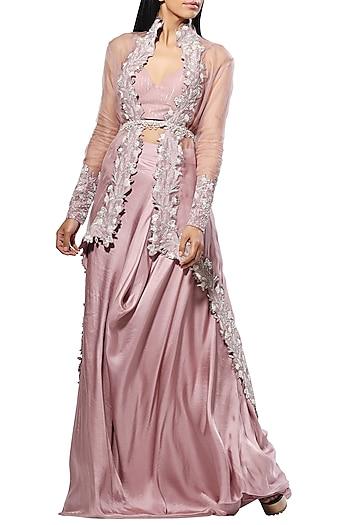 Lilac Embellished Jacket Lehenga Set With Belt by Mahima Mahajan