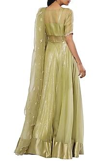 Sage Green Embellished Angrakha Kurta Set by Mahima Mahajan