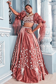 Coral Embellished Blouse With Lehenga Skirt by Mahima Mahajan
