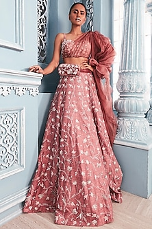 Coral Embellished Corset Blouse With Lehenga Skirt by Mahima Mahajan