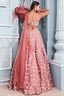 Coral Embellished Corset Blouse With Lehenga Skirt by Mahima Mahajan
