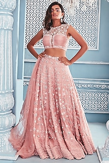 Blush Pink Embroidered Lehenga Set by Mahima Mahajan