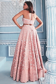 Blush Pink Embroidered Lehenga Set by Mahima Mahajan