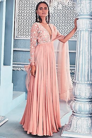 Blush Pink Drape Anarkali by Mahima Mahajan
