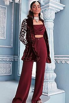 Wine Embroidered Blazer Set by Mahima Mahajan