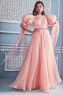 Blush Pink Embroidered Anarkali by Mahima Mahajan