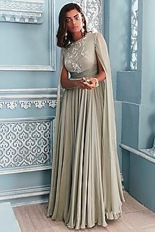 Jade Green Anarkali With Floor Length Sleeves by Mahima Mahajan